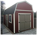 Tall barn shed with double doors and window